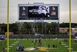 July 25, 2018 - Eagan, MN, USA - The Minnesota Vikings paid tribute to offensive line coach Tony Sparano..... .. ] CARLOS GONZALEZ • cgonzalez@startribune.com – July 25, 2018, Eagan, MN, Twin Cities Orthopedics Performance Center, Minnesota Vikings Training Camp, Rookies and Quarterbacks (Credit Image: © Carlos Gonzalez/Minneapolis Star Tribune via ZUMA Wire)
