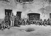 World War I 1914-1918: Italian prisoners of war in Laibach (Ljubliana) Castle, Slovenia, 1915. Military, Army, Captive, Defeat
