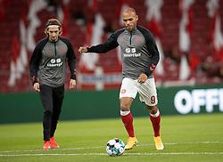Martin Braithwaite (Danmark) under opvarmningen til UEFA Nations League kampen mellem Danmark og Belgien den 5. september 2020 i Parken, København (Foto: Claus Birch).