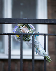 © Licensed to London News Pictures. 01/07/2020. London, UK. A bouquet of flowers is left near a block of flats in Monarch Parade in Mitcham, south London where a four year old girl was found seriously injured yesterday. She was taken to hospital where she later died. A woman, aged 35, is fighting for her life after she was also found suffering serious injuries inside the property. Photo credit: Peter Macdiarmid/LNP