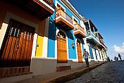 Historic traditional homes along Calle San Justo Old San Juan, Puerto Rico.