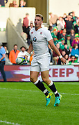 England fly-half Harry Mallinder celebrates scoring his second try during the World Rugby U20 Championship Final   match England U20 -V- Ireland U20 at The AJ Bell Stadium, Salford, Greater Manchester, England onSaturday, June 25, 2016. (Steve Flynn/Image of Sport)