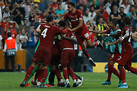 ISTANBUL, TURKEY - AUGUST 14: Liverpool players celebrate victory during the UEFA Super Cup match between Liverpool and Chelsea at Vodafone Park on August 14, 2019 in Istanbul, Turkey. (Photo by MB Media/Getty Images)
