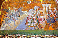 The 11th century Roman Byzantine Church of the Holy Saviour in Chora and its mosaic of the Three Kings (Magi) in audience with King Herod (panel D-14).  Endowed between 1315-1321  by the powerful Byzantine statesman and humanist Theodore Metochites. Kariye Museum, Istanbul .<br /> <br /> If you prefer to buy from our ALAMY PHOTO LIBRARY  Collection visit : https://www.alamy.com/portfolio/paul-williams-funkystock/holy-saviour-chora-istanbul.html<br /> <br /> Visit our TURKEY PHOTO COLLECTIONS for more photos to download or buy as wall art prints https://funkystock.photoshelter.com/gallery-collection/3f-Pictures-of-Turkey-Turkey-Photos-Images-Fotos/C0000U.hJWkZxAbg