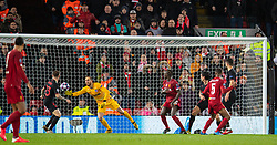 LIVERPOOL, ENGLAND - Wednesday, March 11, 2020: Liverpool's Georginio Wijnaldum scores the first goal during the UEFA Champions League Round of 16 2nd Leg match between Liverpool FC and Club Atlético de Madrid at Anfield. (Pic by David Rawcliffe/Propaganda)