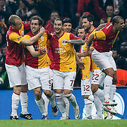Galatasaray's Johan Elmander (2ndL) celebrate his goal with team mate during their Turkish superleague soccer derby match Galatasaray between Besiktas at the TT Arena at Seyrantepe in Istanbul Turkey on Sunday, 26 February 2012. Photo by TURKPIX