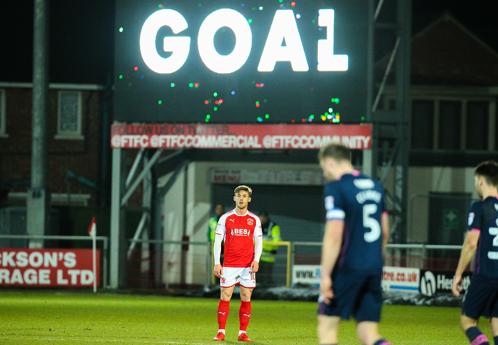 Fleetwood Town's Conor McAleny prepares for the restart after scoring his side's goal<br /> <br /> Photographer Alex Dodd/CameraSport<br /> <br /> The EFL Sky Bet League One - Fleetwood Town v Portsmouth - Tuesday 20th February 2018 - Highbury Stadium - Fleetwood<br /> <br /> World Copyright © 2018 CameraSport. All rights reserved. 43 Linden Ave. Countesthorpe. Leicester. England. LE8 5PG - Tel: +44 (0) 116 277 4147 - admin@camerasport.com - www.camerasport.com