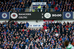 Scoreboard after 90 minutes at the Ladbrokes Scottish Premiership match at Ibrox Stadium, Glasgow.