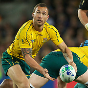 Quade Cooper, Australia, in action during the New Zealand V Australia Semi Final match at the IRB Rugby World Cup tournament, Eden Park, Auckland, New Zealand, 16th October 2011. Photo Tim Clayton...
