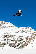British freestyle snowboarder Rowan Coultas during spring training on 05th May 2017 in Corvatsch, Switzerland. Piz Corvatsch is a mountain in the Bernina Range of the Alps, overlooking Lake Sils and Lake Silvaplana in the Engadin region of the canton of Graubünden.