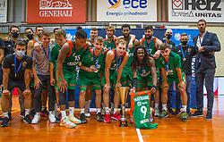 1st. Place - KK Cedevita Olimpija Ljubljana during the final ceremony of Slovenian Super Cup 2020/21 between KK Cedevita Olimpija Ljubljana and KK Krka Novo mesto, on 17.09.2020 in Kranj, Slovenia. Photo by Urban Meglič / Sportida