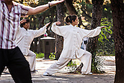 Chinese people practices tai chi martial arts exercise early morning at the Temple of Heaven Park during summer in Beijing, China