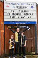 Supporters outside Marine's Ground during the The FA Cup match between Marine and Tottenham Hotspur at Marine Travel Arena, Great Crosby, United Kingdom on 10 January 2021.