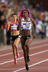 BRUSSELS, Sept. 1, 2018  Shaunae Miller-Uibo of Bahamas competes (Front) during the women's 200m race at the IAAF Diamond League athletics meeting in Brussels, Belgium, Aug. 31, 2018. Shaunae Miller-Uibo claimed the title in a time of 22.12 seconds. (Credit Image: © Zheng Huansong/Xinhua via ZUMA Wire)
