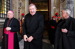 File photo - Australian Cardinal George Pell arrives at the Clementina Hall to exchange Christmas greetings with Pope Francis on December 22, 2014 in Vatican City, Vatican. Cardinal George Pell has been found guilty of sexual offences in Australia, making him the highest-ranking Catholic figure to receive such a conviction. Pell abused two choir boys in the rooms of a Melbourne cathedral in 1996, a jury found. He had pleaded not guilty. The verdict was handed down in December, but it could not be reported until now due to legal reasons. Pell is due to face sentencing hearings from Wednesday. He has lodged an appeal against his convictions. Photo by ABACAPRESS.COM