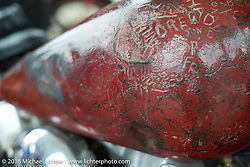 Carl Olsen's 1936 Harley-Davidson Knucklehead carved gas tank during Stage 2 of the Motorcycle Cannonball Cross-Country Endurance Run, which on this day ran from Lake City, FL to Columbus, GA., USA. Saturday, September 6, 2014.  Photography ©2014 Michael Lichter.