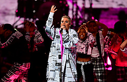 Pink performs on stage at the Brit Awards 2019 at the O2 Arena, London.