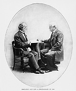General Joseph E. Johnston (on the left), who had led the Confederate forces since Bull Run, was wounded at Fair Oaks. That wound gave Robert E. Lee (on the right) his opportunity to act as leader. from the book ' The Civil war through the camera ' hundreds of vivid photographs actually taken in Civil war times, sixteen reproductions in color of famous war paintings. The new text history by Henry W. Elson. A. complete illustrated history of the Civil war