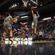 HARTFORD, CONNECTICUT- JANUARY 4: Katie Lou Samuelson #33 of the Connecticut Huskies scores two points during the UConn Huskies Vs East Carolina Pirates, NCAA Women's Basketball game on January 4th, 2017 at the XL Center, Hartford, Connecticut. (Photo by Tim Clayton/Corbis via Getty Images)
