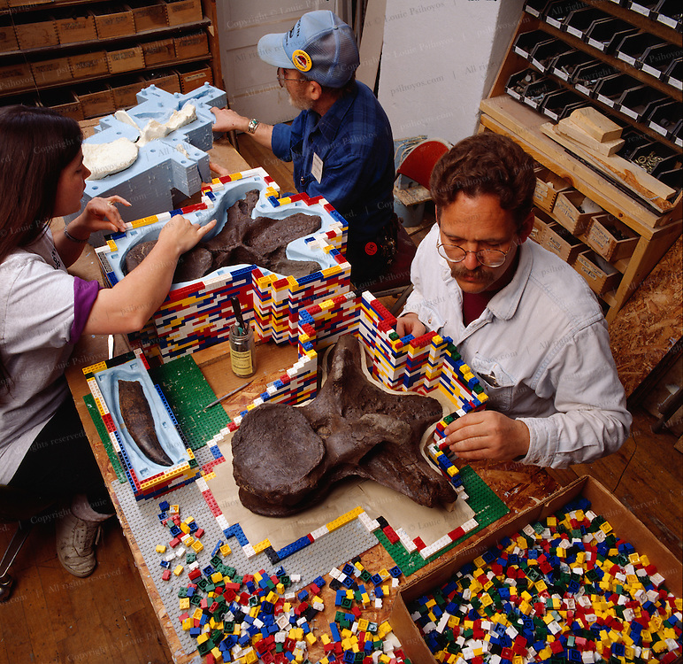 Pete Larson makes a mold wall for a  T.rex vertebrae of Legos before it is cast at the Black Hills Institute in South Dakota.