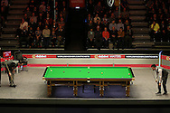 Ding Junhui (Chn) and Kyren Wilson (Eng) in action. Ding Junhui (Chn) v Kyren Wilson (Eng),  1st round match at the Dafabet Masters Snooker 2017, day 1 at Alexandra Palace in London on Sunday 15th January 2017.<br /> pic by John Patrick Fletcher, Andrew Orchard sports photography.