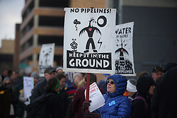 November 19, 2018 - Nogales, Arizona, USA - Both opponents and supports of Line 3 lined up before the doors opened to the Senate Building at 9am.]  PUC considers stipulations to its June approval for Enbridge's Line 3 pipeline. There were several items that the PUC wanted addressed, the biggest perhaps being the corporate guarantee/insurance for the project. PUC had a meeting on this six weeks or so ago, but canceled it half way through due to loud protestsRichard Tsong-Taatarii Richard.Tsong-Taatarii@startribune.com (Credit Image: © Richard Tsong-Taatarii/Minneapolis Star Tribune via ZUMA Wire)