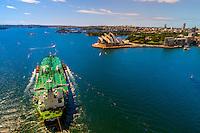 The oil tanker, Phoenix Strength, sails underneath the Sydney Harbour Bridge, Sydney, New South Wales, Australia