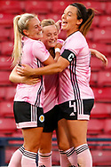 GOAL! Scotlands Erin CUTHBERT (Chelsea FCW (ENG)) celebrates with Kirsty SMITH (Manchester United WFC (ENG)) & Rachel CORSIE (Utah Royals FC (USA)) after scoring the equaliser during the International Friendly match between Scotland Women and Jamaica Women at Hampden Park, Glasgow, United Kingdom on 28 May 2019.