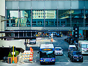 03 MAY 2017 - MINNEAPOLIS, MN: The skyway in downtown Minneapolis. The skyways are enclosed pedestrian overpasses that connect downtown buildings. The Minneapolis Skyway was started in the early 1960s as a response to covered shopping malls in the suburbs that were drawing shoppers out of the downtown area. The system grew sporadically until 1974, when the construction of the IDS Center and its center atrium, called the Crystal Court, served as a hub for the downtown skyway system. There are 8 miles of skyways, connecting most of the downtown buildings from Target Field (home of the Minnesota Twins) to US Bank Stadium (home of the Minnesota Vikings). In the last five years many upscale downtown apartment buildings and condominium developments have been added to the system, allowing downtown residents to live and work downtown without going outside.    PHOTO BY JACK KURTZ