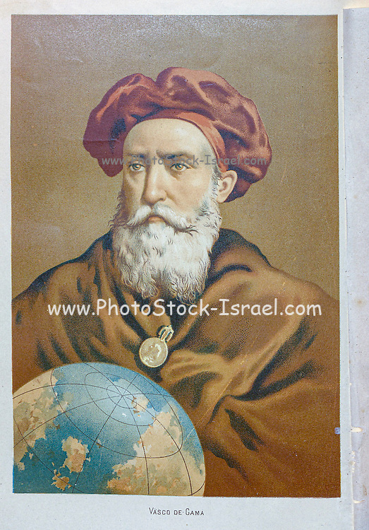 Vasco da Gama, 1st Count of Vidigueira (1460 – 24 December 1524), was a Portuguese explorer and navigator and the first European to reach India by sea. His initial voyage to India (1497–1499) was the first to link Europe and Asia by an ocean route, connecting the Atlantic and the Indian oceans and therefore, the West and the Orient. From the book La ciencia y sus hombres : vidas de los sabios ilustres desde la antigüedad hasta el siglo XIX T. 2  [Science and its men: lives of the illustrious sages from antiquity to the 19th century Vol 2] By by Figuier, Louis, (1819-1894); Casabó y Pagés, Pelegrín, n. 1831 Published in Barcelona by D. Jaime Seix, editor , 1879 (Imprenta de Baseda y Giró)
