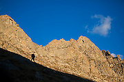 Rory Cowie hikes up towards the SE Ridge of Mount Bierstadt in the Mount Evans Wilderness, Rocky Mountains Front Range, Colorado.