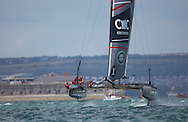 Image licensed to Lloyd Images. Free for editorial use. <br /> Pictures of Land Rover BAR America's Cup racing team skippered by Sir Ben Aimslie during a practice session on the Solent today.<br /> Credit: Lloyd Images
