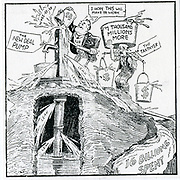 The American Depresseion 1930s. 'What We Need is a New Pump' cartoon on Franklin Delano Roosevelt's New Deal and the pump priming deficits. While FDR poured 8 1/2 billion US Dollars into the emergency, insisting he was balancing the budget.