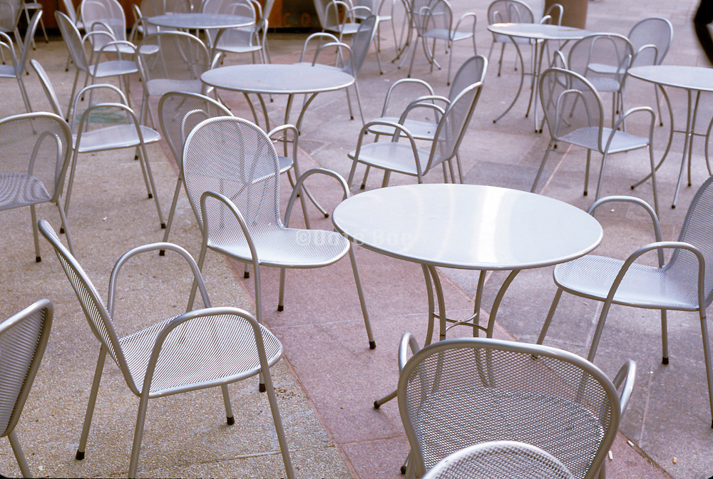 close up of empty chairs in a public square