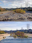 Los Angeles River showing normal flow and water levels and higher water levels during rainstorm. Glendale Narrow, Los Angeles, California, USA