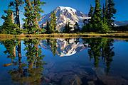 Mountain tarn reflecting Mount Rainier at dawn, Mount Rainier national park, Washington, USA