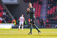 Gary Sawyer of Plymouth Argyle (3) in action during the EFL Sky Bet League 1 match between Doncaster Rovers and Plymouth Argyle at the Keepmoat Stadium, Doncaster, England on 13 April 2019.