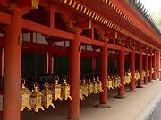 Row of gold plated lanterns in the Kasuga-Taisha Shrine, Nara, Japan