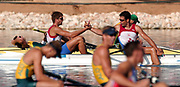 20040815 Olympic Games Athens Greece [Rowing]<br /> Schinias Photo  Peter Spurrier <br /> UZB LM2X Bow Sergey Bogdanov and Rusian Naurzaliyev[Mandatory Credit Peter Spurrier/ Intersport Images]