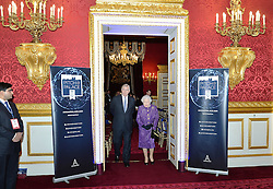 Queen Elizabeth II, accompanied by the Duke of York (centre), during the opening of Pitch@Palace 6.0, an initiative set up by the Duke of York to guide, help and connect entrepreneurs with potential supporters, including CEOs, influencers, mentors, and business partners, in order to accelerate and amplify their businesses, at St James's Palace in London.
