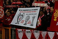 Football - 2019 / 2020 Premier League - Liverpool vs. Wolverhampton Wanderers<br /> <br /> Fans on the Kop show off their new banner after Liverpool's victory in last week's FIFA World Club Championship in Qatar, at Anfield.<br /> <br /> COLORSPORT/ALAN MARTIN