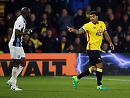 Watford's Troy Deeney tussles with WBA's Allan Nyom during the Premier League match at Vicarage Road Stadium, London. Picture date: April 4th, 2017. Pic credit should read: David Klein/Sportimage