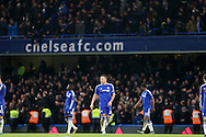 John Terry, the Chelsea captain lookis dejected after Ramiro Funes Mori Everton scored his sides 3rd goal to make it 3-2. Barclays Premier league match, Chelsea v Everton at Stamford Bridge in London on Saturday 16th January 2016.<br /> pic by John Patrick Fletcher, Andrew Orchard sports photography.