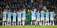 Football - 2017 / 2018 UEFA Champions League - Round of Sixteen, Second Leg: Manchester City (4) vs. FC Basel (0)<br /> <br /> Manchester City take part in a minutes silence at The Etihad.<br /> <br /> COLORSPORT