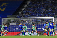 Brighton and Hove Albion midfielder Jakub Moder (15) shoots at goal during the Premier League match between Brighton and Hove Albion and Everton at the American Express Community Stadium, Brighton and Hove, England UK on 12 April 2021.