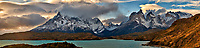 Sky, Clouds, and Mountains in Torres del Paine National Park. Composite of 12 images taken with a Fuji X-T1 camera and 55-200 mm telephoto lens.
