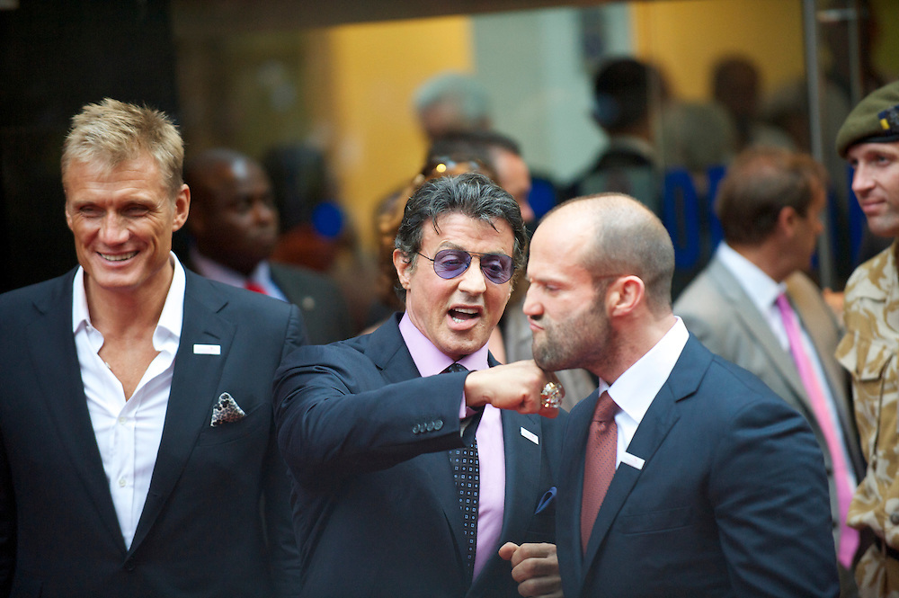 arrives for the premiere of 'The Expendables,' on Monday night, August 9, 2010, at the Odeon, Leicester Square in London.