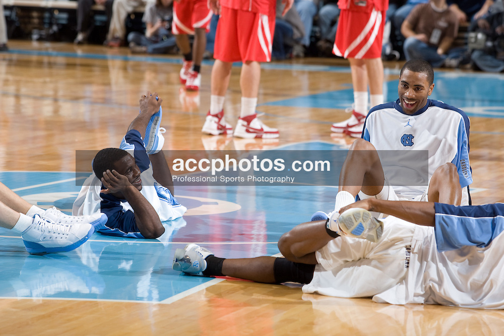 19 December 2007: North Carolina Tar Heels guard Ty Lawson (5) and guard Wayne Ellington (22) during a 88-78 win over Nicholls State at the Dean Smith Center in Chapel Hill, NC.