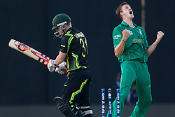 © Licensed to London News Pictures. 30/09/2012. South African Morne Morkel celebrates after bowling out David Warner during the T20 Cricket World super 8's match between Australia Vs South Africa at the R Premadasa International Cricket Stadium, Colombo. Photo credit : Asanka Brendon Ratnayake/LNP