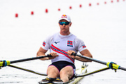 Poznan, POLAND, 21st June 2019, Friday, Morning Heats, NOR M1X, Kjetil  BORCH,  FISA World Rowing Cup II, Malta Lake Course, © Peter SPURRIER/Intersport Images,<br /> <br /> 12:08:57